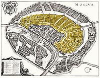 Белый город. План Меттеуса Мериана (выделен желтым) 1638.